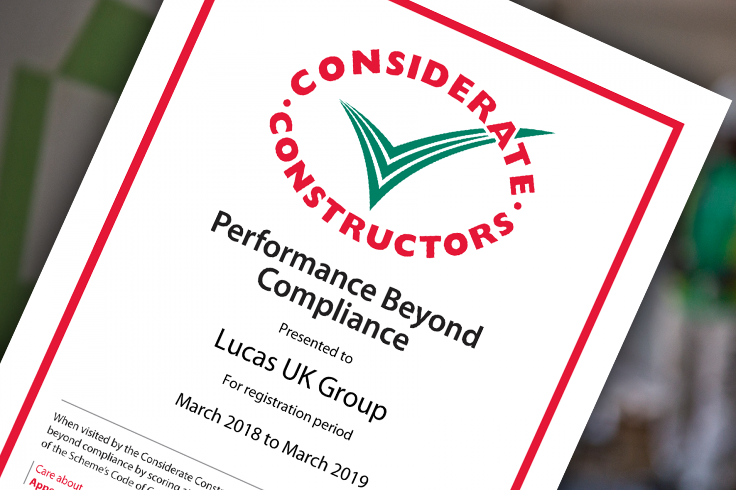 Performance Beyond Compliance Certificate Awarded to Lucas UK Group by Considerate Constructors Scheme