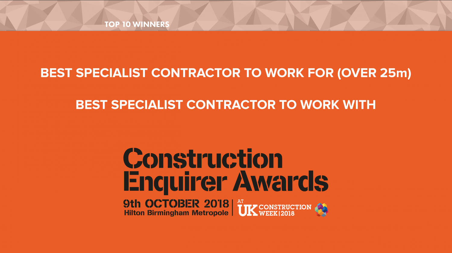Lucas shortlisted for two Construction Enquirer Awards 2018